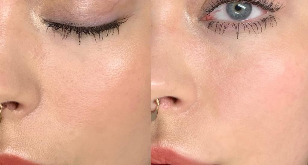 This image shows how we were able to add volume to this woman's eyebrow at Brau.