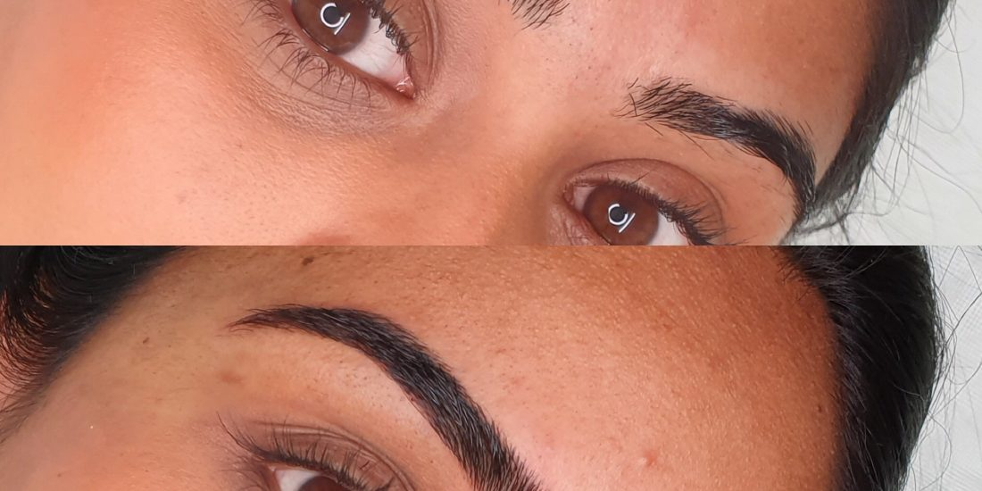 Before and after pictures of the brow service provided by Brau.