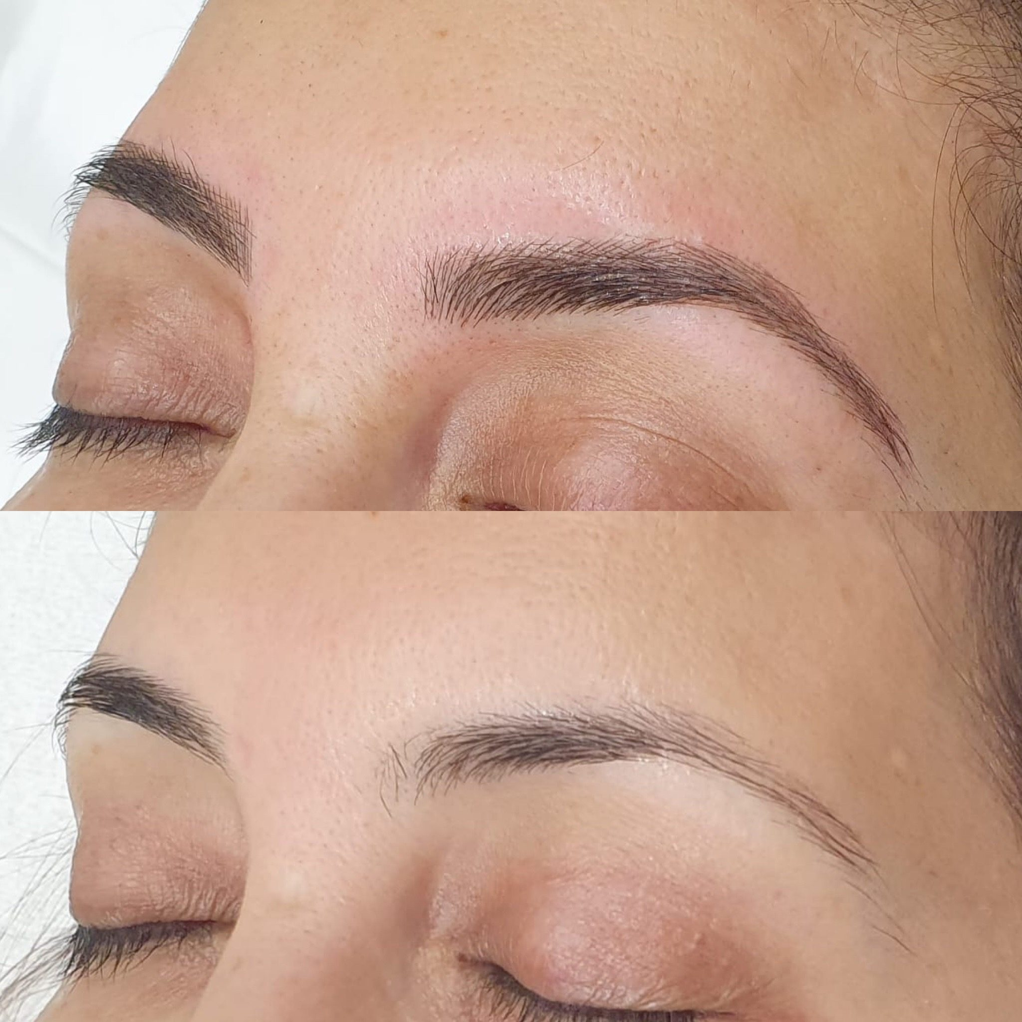 Before and after eyebrow pic shows they look much fuller after Brau service.