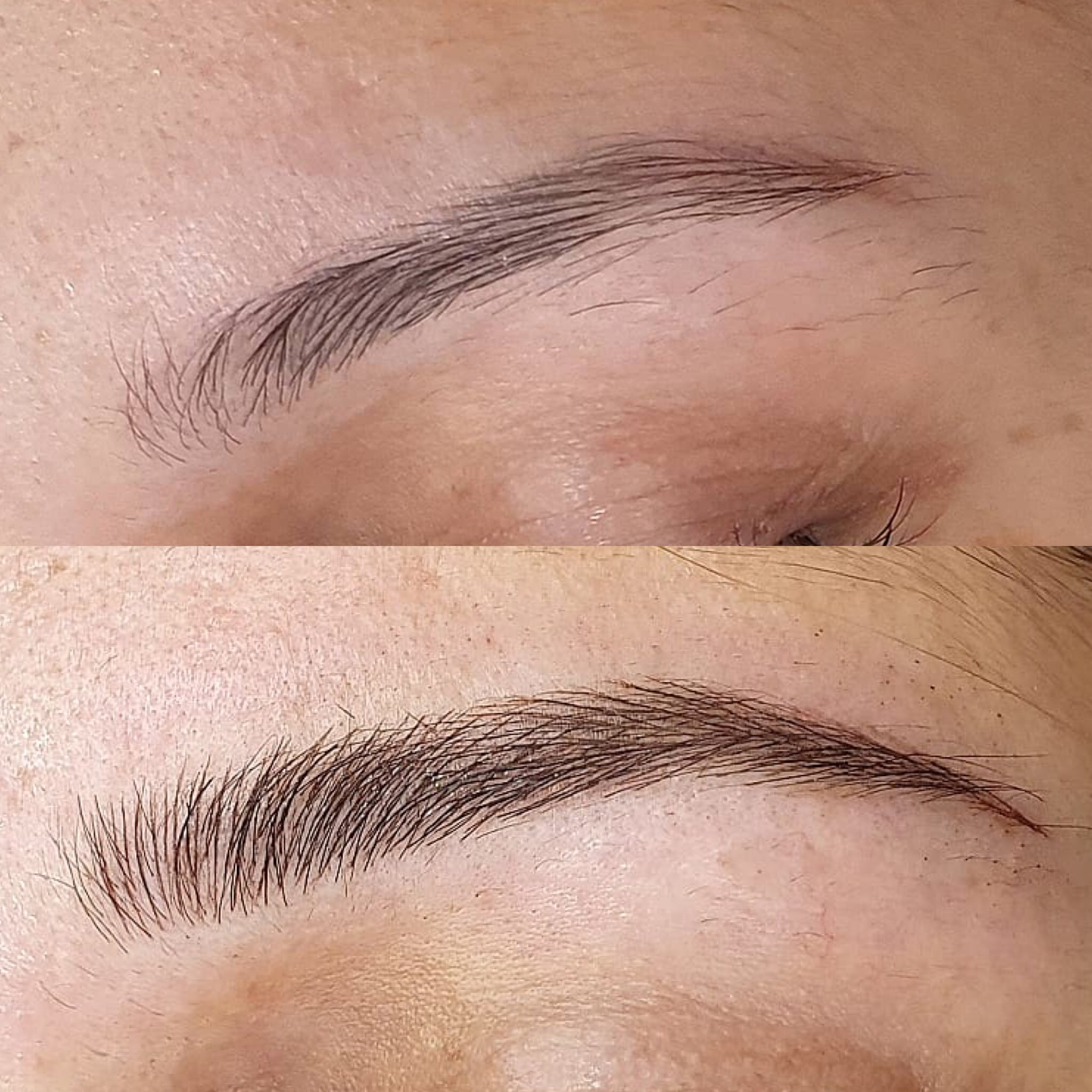 This image shows a woman's eyebrows before Brau and after Brau.