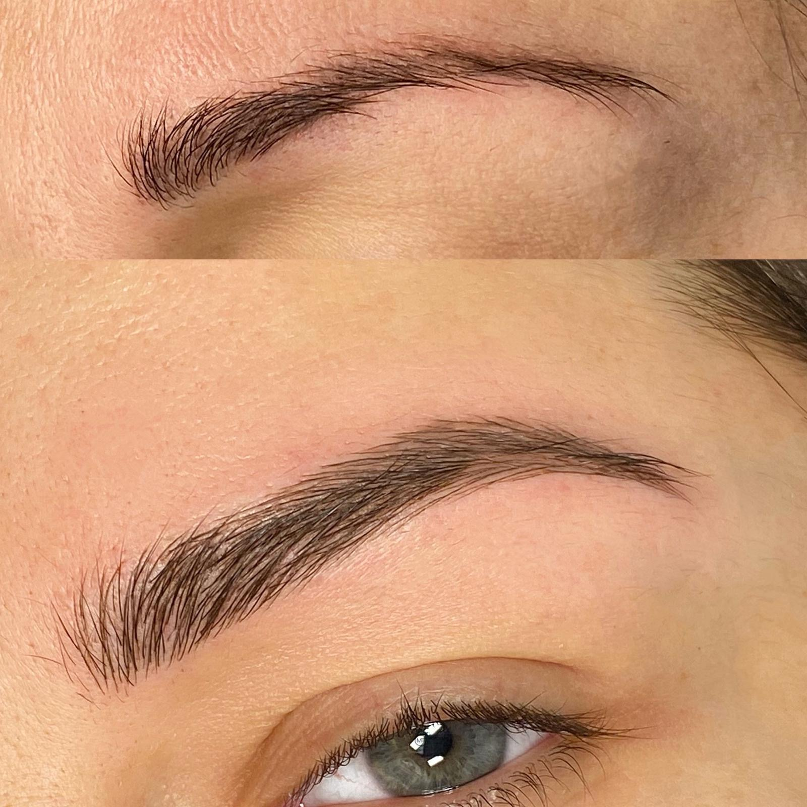 This image shows a woman's eyebrows meticulously done.
