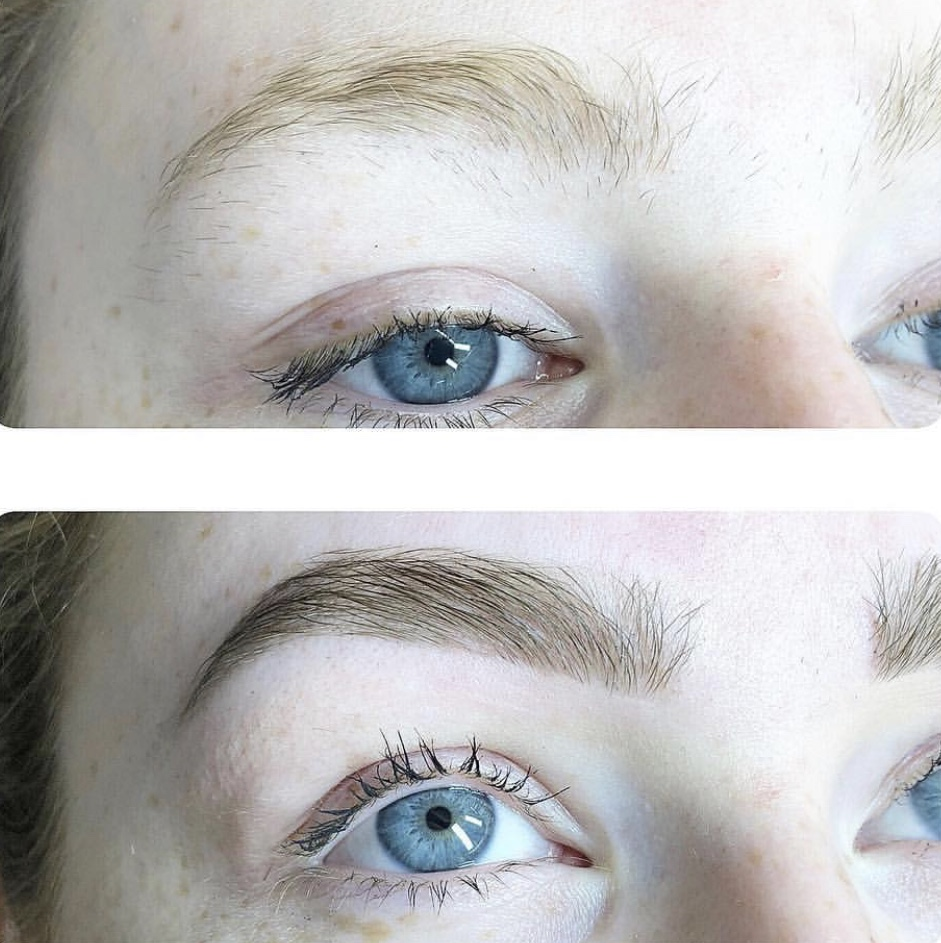 Image of a woman's eyebrow before Brau service and after.