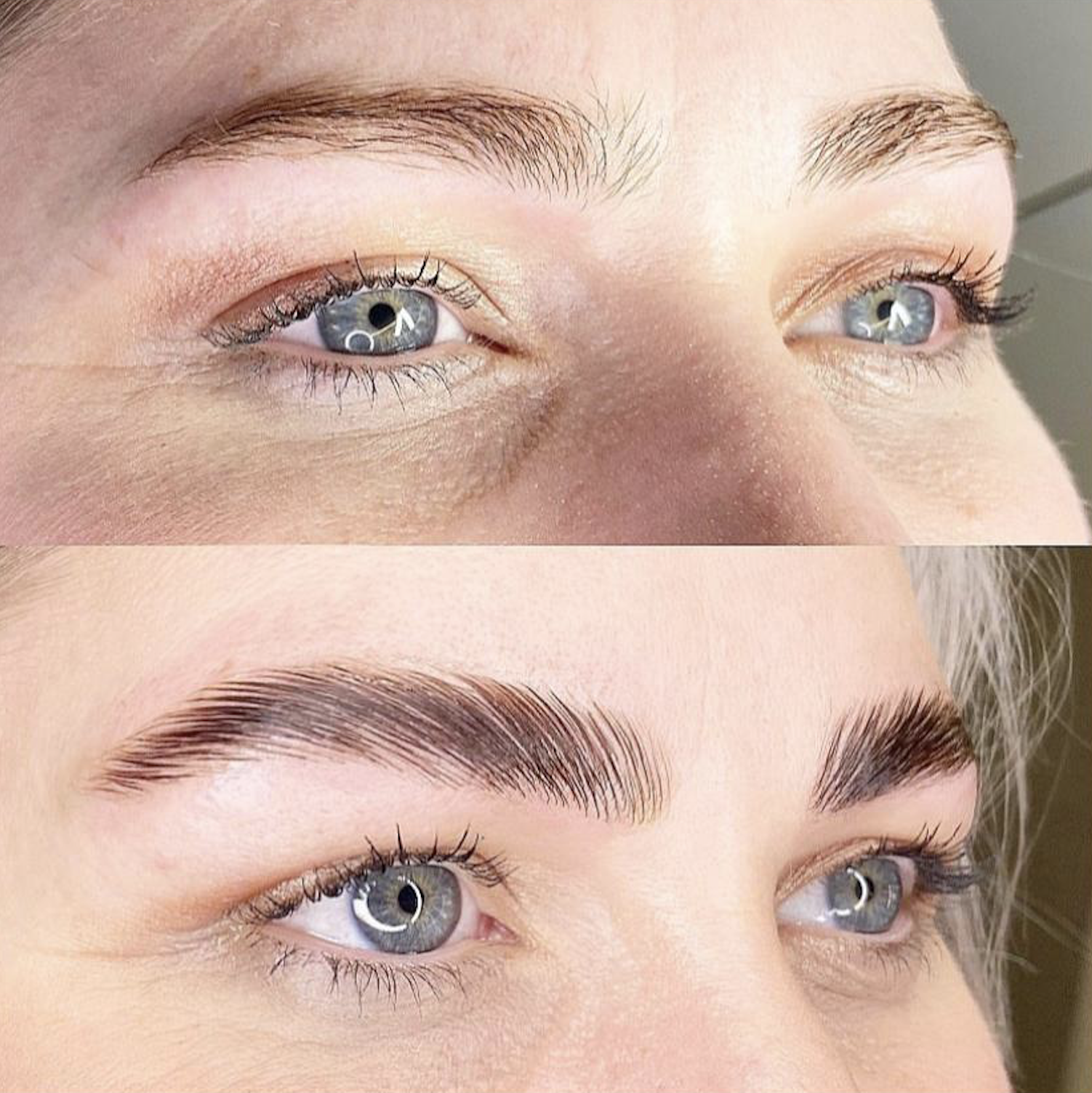 Images of before and after eyebrows done by Brau.