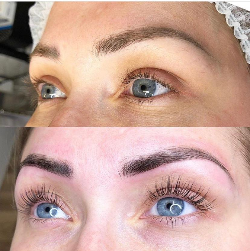 Before and after picture of brows done here at Brau Microblading in Dubai.